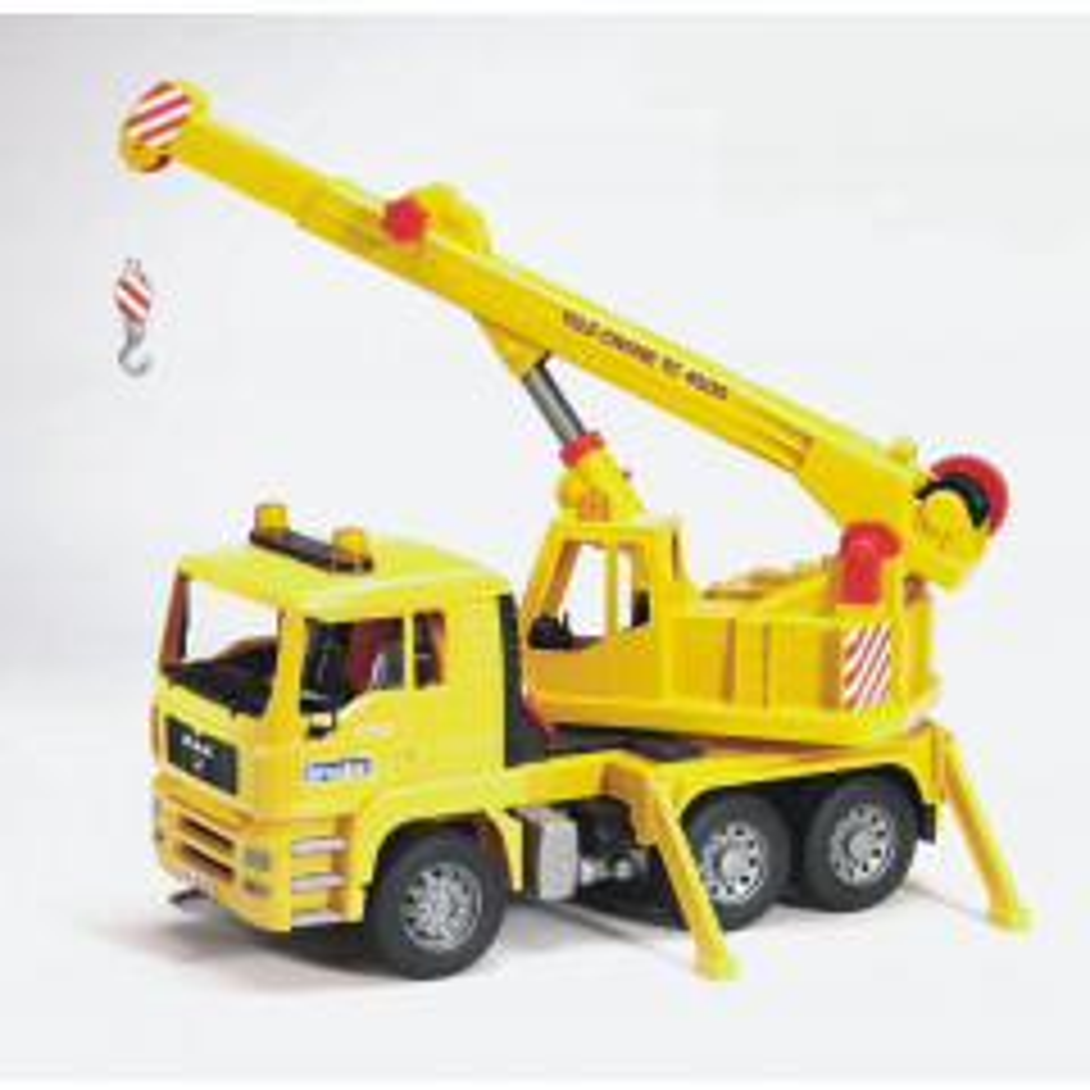 תמונה של משאית צהובה עם מנוף